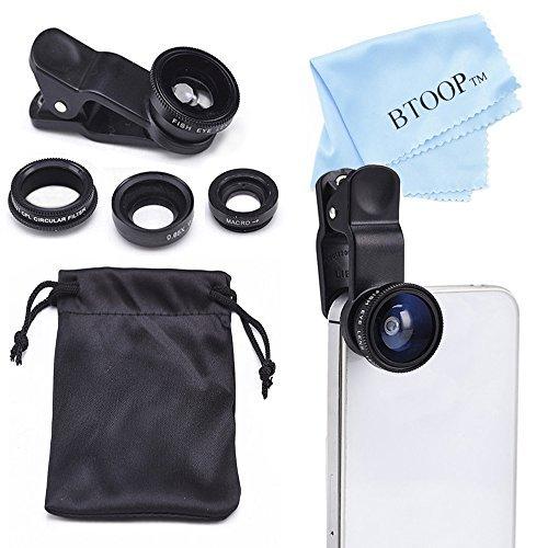 BTOOP 4 In 1 IPhone Lens Camera Lens Kit With Fisheye Lens + Wide Lens And Macro Lens + CPL Lens + BTOOP Microfiber...