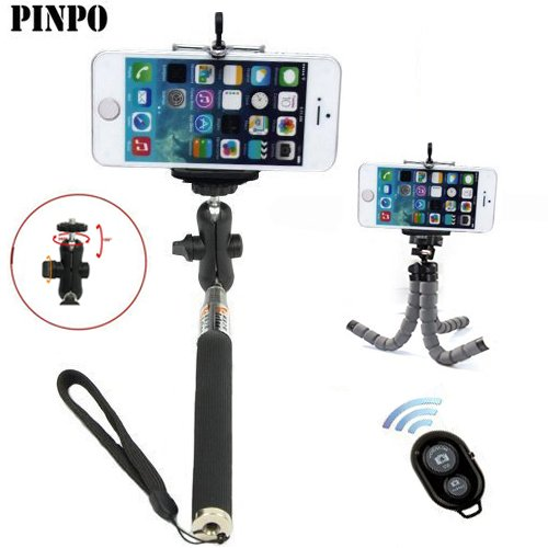 PINPO® New Black 270mm-1120mm Super Long Extendable Waterproof Self-portrait Monopod Photo Selfie Handheld Stick 360 Degree Adjustable Ball Head & Phone Holder Stand for iPhone 5/5s/5C/iPhone 6/Samsung/Blackberry 1/4 Inch Tripod Hole Camera & Wireless Camera Bluetooth Self-timer Remote Shutter Controller for IOS Android & Multi-function Octopus Tripod Mount For DV,Camera,ILDC Digital Camera,Pads