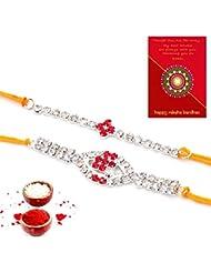 Ethnic Rakhi Traditional Handmade Multi-Color Desinger Spritual Mauli Thread And Beads Rakhi Set Of 2 Piece For... - B01IIMIOKO