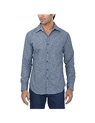One Fuel Men's Grey Black Small Checks Casual Slim Fit Shirt