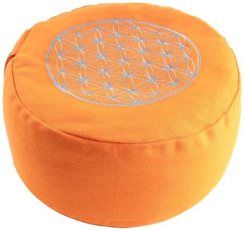 Berk YO-21-OR - Cojín de meditación, diseño con símbolo de la flor de la vida, color naranja