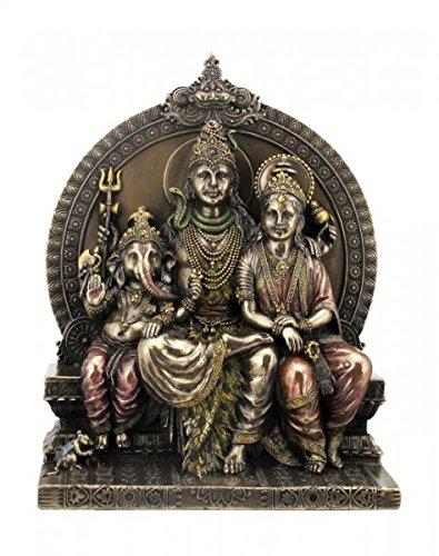 Statuetta indiana dei Shiva Parvati e Ganesha Statua Induismo bronzata India