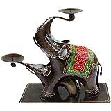 Crafticia Craft Rajasthani Handicraft Iron Traditional Aluminium Metal Elephant Tealight Candle Holder Table Decor...