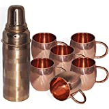 DakshCraft Copper Silver Touch Bottle & Copper Mug With Pipe Handle, Set Of 6