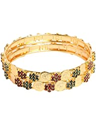 Sthrielite Gold Plated Traditional Laxmi Coin Stone Bangles