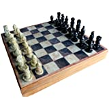 "12""x12″ Indian Stone Chess Game Board Set + Hand Crafted Stone Pieces"
