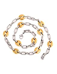 The Jewelbox Mens Gold Rhodium Cable Mariner Button Anchor Link Chain 21.5""