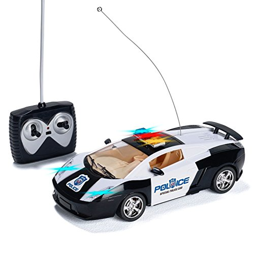 Prextex Remote Control Police Car with LED Lights and Rc Police Siren Sounds RC Police Car Toys for Boys Best Christmas gift for 8-12 year old boys