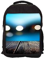 Snoogg Bokeh With Wooden Floor Backpack Rucksack School Travel Unisex Casual Canvas Bag Bookbag Satchel