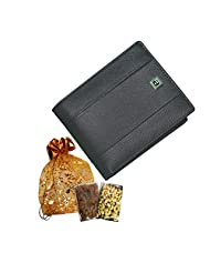 Exclusive Diwali Gift -Style98 Black Genuine Leather Traveller Wallet With Coin Pocket For Men And Boys