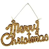 Art with Emphasis Plastic Merry Christmas Hanging (11 cm x 20 cm x 0.7, Gold)