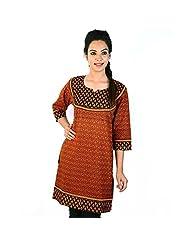 Jaipur RagaJaipuri Designer Print Red-Black Cotton Top Woman Cotton Kurti