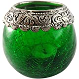 Craft In India Glass Candle Holder (11.8 Cm X 9.3 Cm X 8.2 Cm, Green)