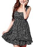 Allegra K Women Bowknot Decor Elastic Waist Tiered Flouncing Hem Dots Mini Dress
