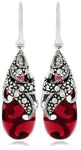 Sterling Silver Marcasite and Garnet Colored Glass Teardrop Earrings