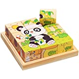 Mutong Toys 9-Piece Six Pattern Toy Brick Childhood Cognitive Wooden Jigsaw Puzzle Forest Animals 2