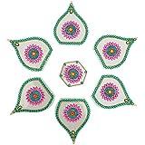 Nandini Acrylic Selfie Decorative Rangolis (13 Cm X 10 Cm X 1 Cm, Green & Pink)