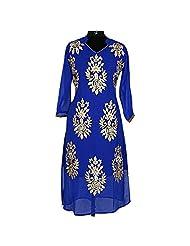 Dark Blue Georgette Party Wear Kurti With Golden Patchwork