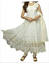 Vastra Fasion Women's Brasso & Net Semi-Stitched Dress Material (White Khantil_White)