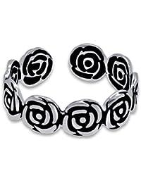 Gandhi Jewellers Sterling Silver Toe Ring.Single Piece Rose Silver Toe Ring. Silver Oxidized Toering