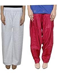 IndiWeaves Women Full Cotton Chikan White Palazzo With Cotton Red Dabang Jalidar Full Patiala Salwar - Free Size (Pack Of 1 Palazzo With 1 Patiala Salwar) - B01GL21PA4