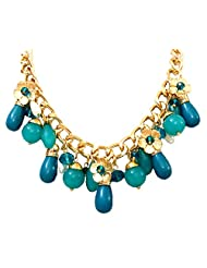 BID4DESIRE GREEN BEADS WITH GOLDEN FLOWERS NECKLACE FOR GIRLS