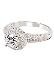 GemLN Solitaire White Stone Ring For Women