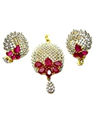 Poddar Jewels Cubic Zirconia Red Stylish Pendant Set