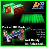 100 Pcs - GLOW IN THE DART / WHITE - Refill Darts For NERF Guns N-strike Elite Series Blasters Toy Gun Round Head Blast