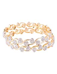 Bharat Sales Gold Plated White Alloy Bangles For Women - B00YPATVFG