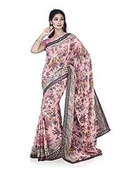Aadarshini Women's Chiffon Saree (4080, Pink And Pista)