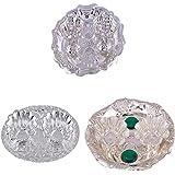 GS MUSEUM Silver Plated Rani Kumkum Plate, Silver Plated Oval Kumkum Plate And Silver Plated Roli Chawal Green...