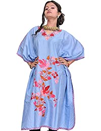 Exotic India Placid-Blue Kashmiri Short Kaftan With Ari Embroidered Maple - Blue