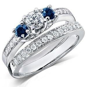 Perfect Sapphire Inexpensive Diamond Wedding Ring Set 1 Carat Round Cut Diamond on Gold