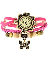 SahiBUY Butterfly Pendant Leather Bracelet Watch - Analog Display - Off White Dial - For Women (Pink)