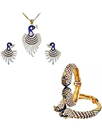 Jewels Gold Antique Peacock Traditional Fancy Designer Pendants Set With Kada