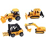 ToyZe® 5 Inch Metal Diecast Construction Vehicle Set, Bulldozer, Forklift, Front Loader Tractor, An