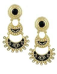 The Art Jewellery Rajwadi Black Enamelled Work Double Layered Dangle&Drop Earrings For Women