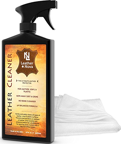 Leather Cleaner - The Best Leather Care Treatment for Your Sofa, Couch, Car, Shoes, Boots, Jackets, Handbags, Purses, Saddles, Vinyl & More - Comes With Microfiber Towel - 18 oz Bottle - Leather Nova