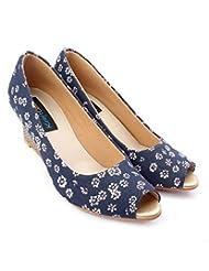 KraftCellar Happy Daisy,blue Peep Toe Wedges