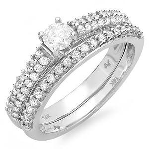 Delightful Diamond Bridal Ring Set 1 Carat Princess Cut Diamond on 14k Gold