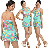 Tempting & Matchless Smooth Loving Sea Green Retro Print Tankini Padded Top With Skirted Bottom Bathing-Suit