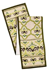 Cotton Craft - Moroccan Tile with Crown Jute Table Runner - 13x72 - Shades of Green on Ivory Jute - Perfect accessory to dress up your dinner table - Spot Clean Only