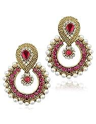 Dancing Bollywood Pearl Rani Pink Dangle&Drop Earrings For Women B332r