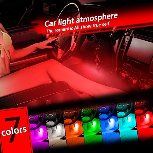 Thunder® 12V 4*3 LED Car Interior Decorative Atmosphere Neon Light Lamp – Best in Automotive Interior Accessories – Auto Car Floor Lights with Bright Light for All Vehicles – Single Color Red