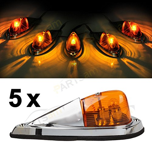 Partsam 5x Universal Teardrop Style Amber Cab Roof Clearance Marker Lights kit for trucks trailers