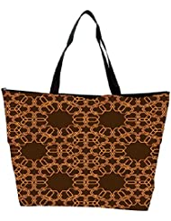 Snoogg Abstract Brown And Yellow Designer Waterproof Bag Made Of High Strength Nylon