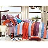 Bianca Damaris Cotton Double Bedsheet With 2 Pillow Covers - Orange