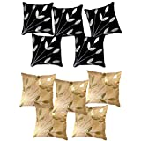 Belive-Me Leaves Patch Black & Beige Cushion Covers (16X16 Inches) Set Of 10