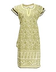 Imperial Chikan Women's Cotton Straight Kurta (13945, Yellow, 42)